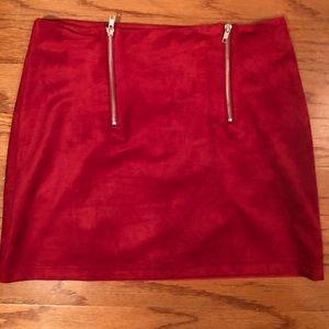 Red Suede Miniskirt
